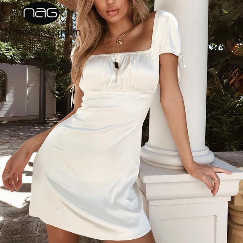 Satin White Dress Short Sleeve Summer Dress Sexy Ruched Dress Elegant Club Party Mini Dresses High Waist-SheSimplyShops