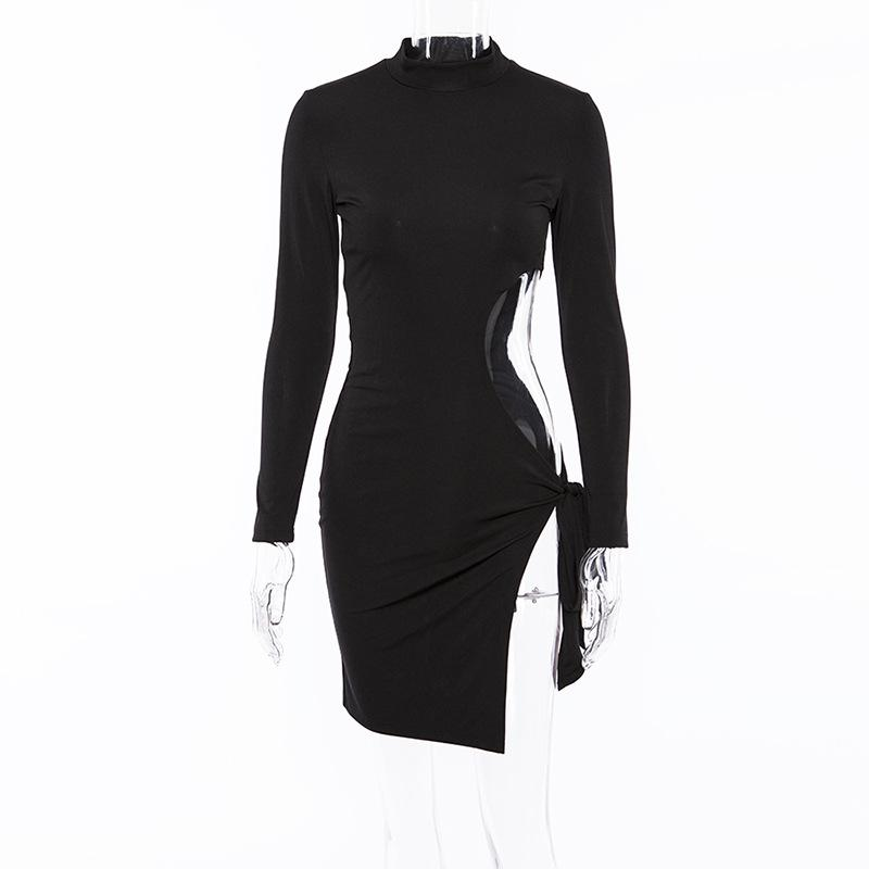 Sexy Club Party Dress Turtleneck Long Sleeve Autumn Winter Dress Skinny White Dress Body con Midi Dresses-SheSimplyShops