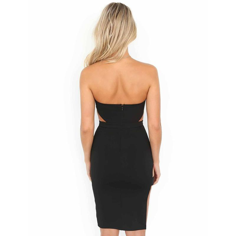 Sexy Strapless Women Midi Dress Cut Out High Slit Club Party Dress Body con Sexy Dress-SheSimplyShops