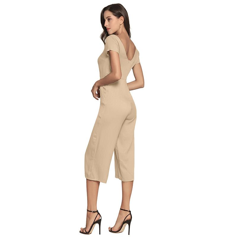 Summer Jumpsuit Short Sleeve Jumpsuits For Women Rompers Women Sexy Overalls V Neck Wide Leg Body-SheSimplyShops