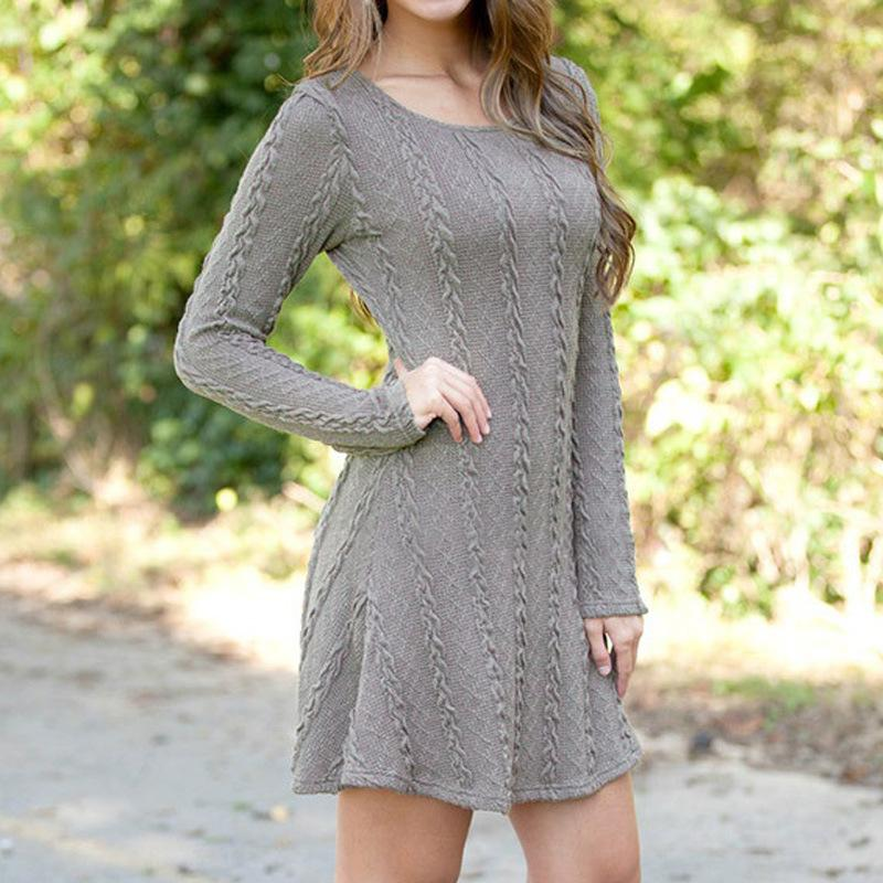 Sweater Dress Long Sweater Women O Neck Pullover Long Sleeve Sweaters Autumn Winter Knitted Sweater Knitwear-SheSimplyShops