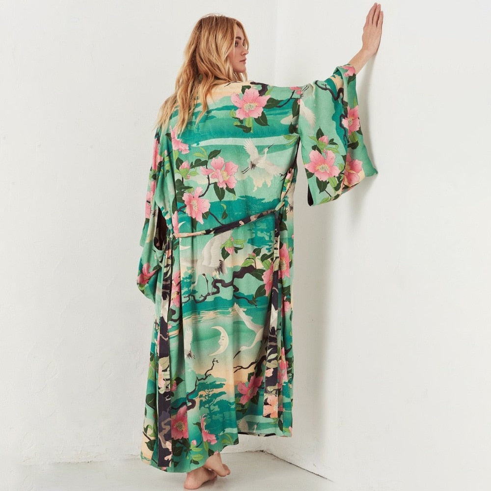 Nightingale Lotus Print Loose Jacket Kimono Autumn Summer Women Boho Hippie Long Cardigan Floral Beach Cover up Plus Size