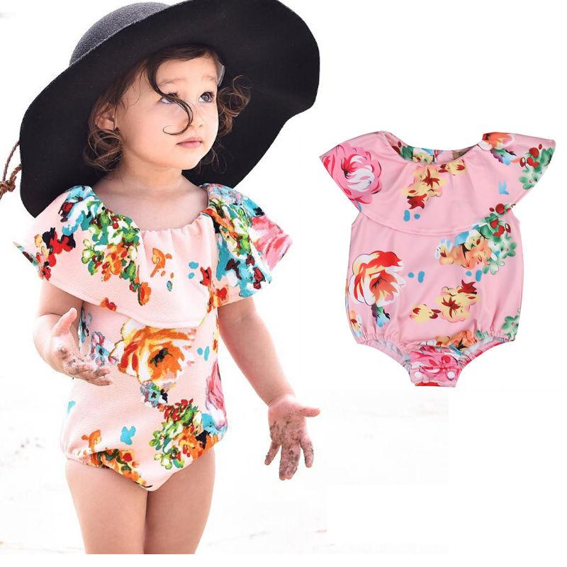 One Piece Newborn Toddler Kids Baby Girl Apparel Ruffle Romper Floral Flower Print Swimwear Swimsuit Bikini-ROMPERS & JUMPSUITS-SheSimplyShops