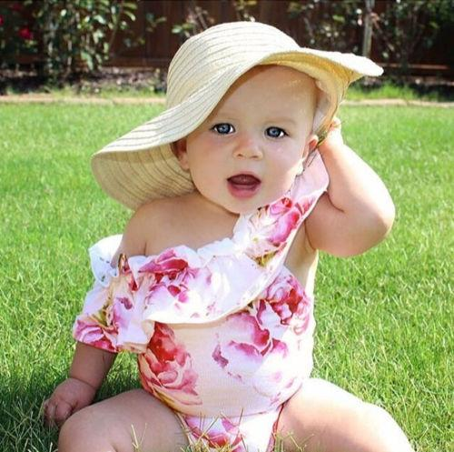 One Piece Swimsuit Newborn Toddler Baby Girl Off Shoulder Ruffle Floral Print Swimwear Bodysuit Bikinis-SWIMWEAR-SheSimplyShops
