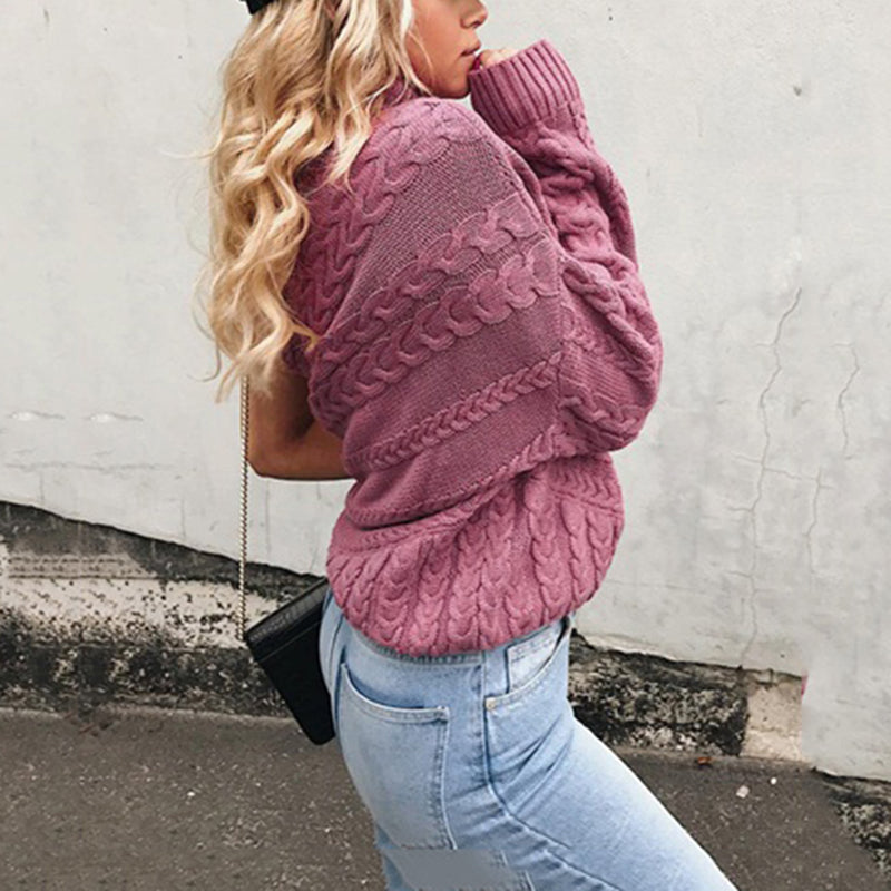 One Shoulder Women's Sweater Purple Turtleneck Knitted Sweater Female Pullover Jumper Casual Streetwear Autumn Winter Sweaters