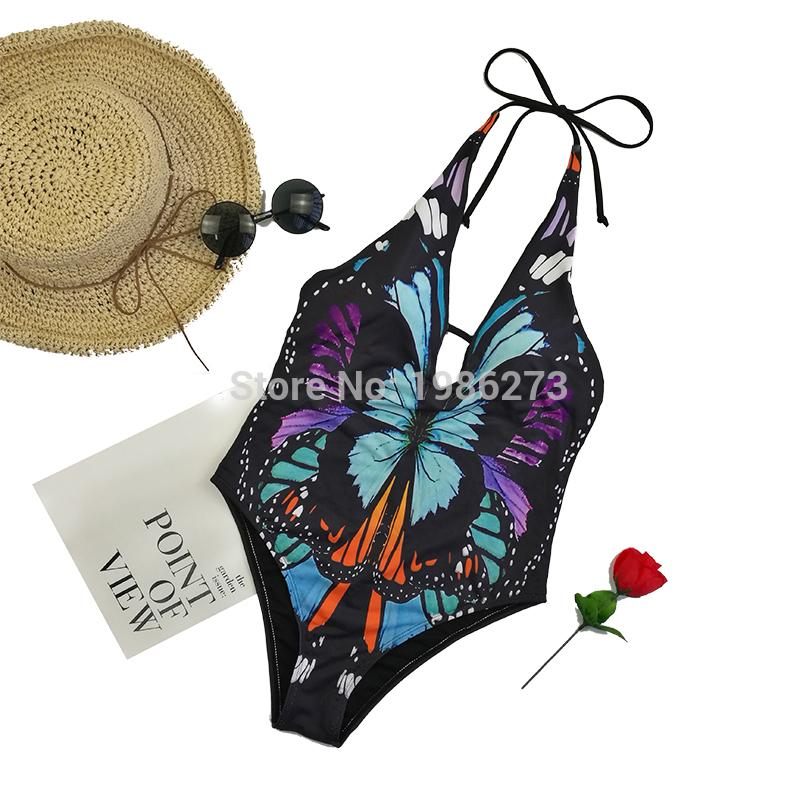 One piece Swimwear push up new women sexy Halter Top swimsuit-Tops-SheSimplyShops