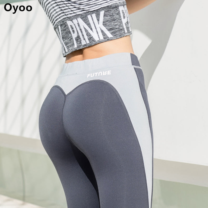 Oyoo heart shape exercise gym tights sexy butt contrast sport athletic leggings women grey jogging yoga pants gym clothes