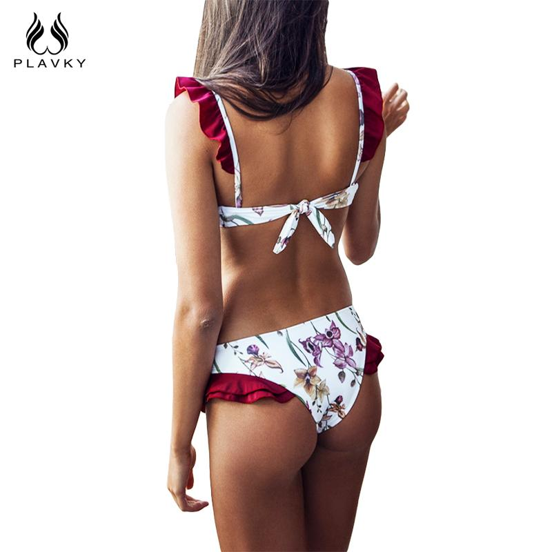 White Floral Red Ruffle Swim Wear Bathing Suit Swimsuit Thong Swimwear Women Bikini-SWIMWEAR-SheSimplyShops