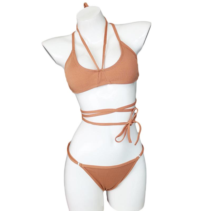 Halter Bandage Strappy Bikini Micro Swim Wear Bathing Suit Swimsuit Bandeau Swimwear Women Bikini-SWIMWEAR-SheSimplyShops