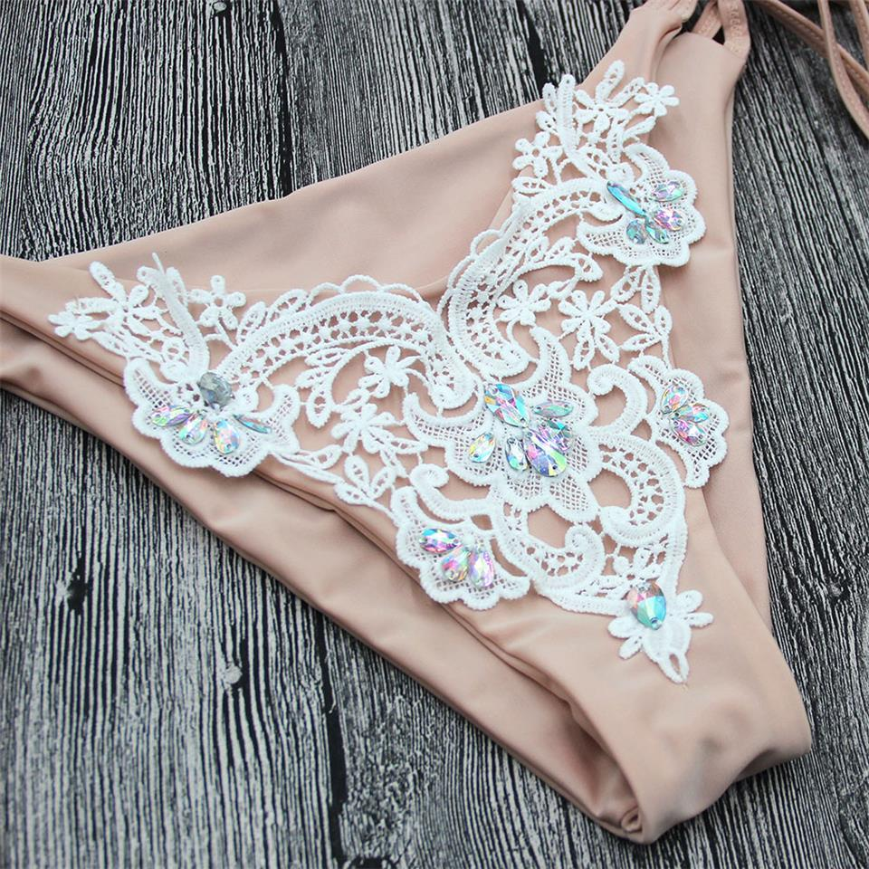 Halter Chain Shiny Rhinestone Lace Micro Thong String Swim Bathing Suit Swimsuit Swimwear Women Bikini-SWIMWEAR-SheSimplyShops