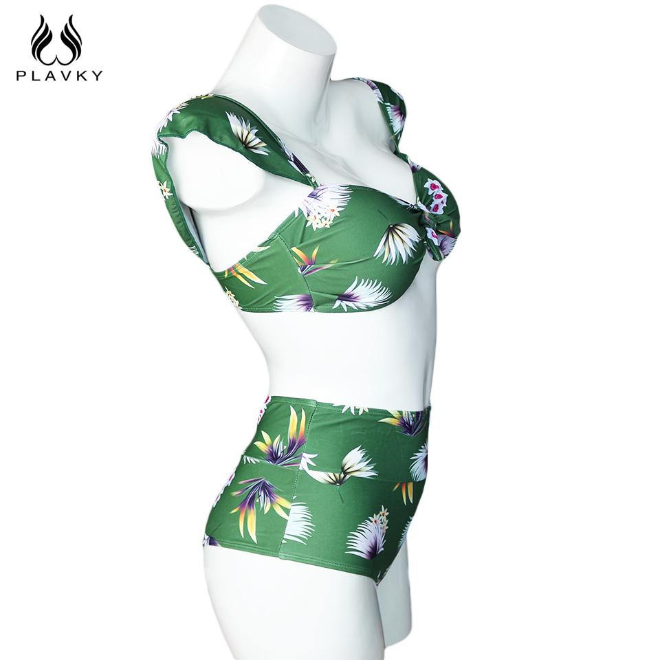 Ladies Green Floral Bandeau Swim Wear Bathing Suit Beachwear Swimsuit Swimwear Women High Waist Bikini-SWIMWEAR-SheSimplyShops