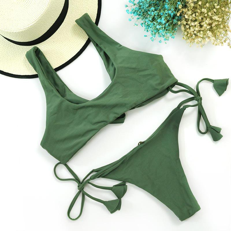 Green Front Bow Knot Tie Fringe Swim Bathing Suit Swimsuit Thong Swimwear Women Bikini-SWIMWEAR-SheSimplyShops