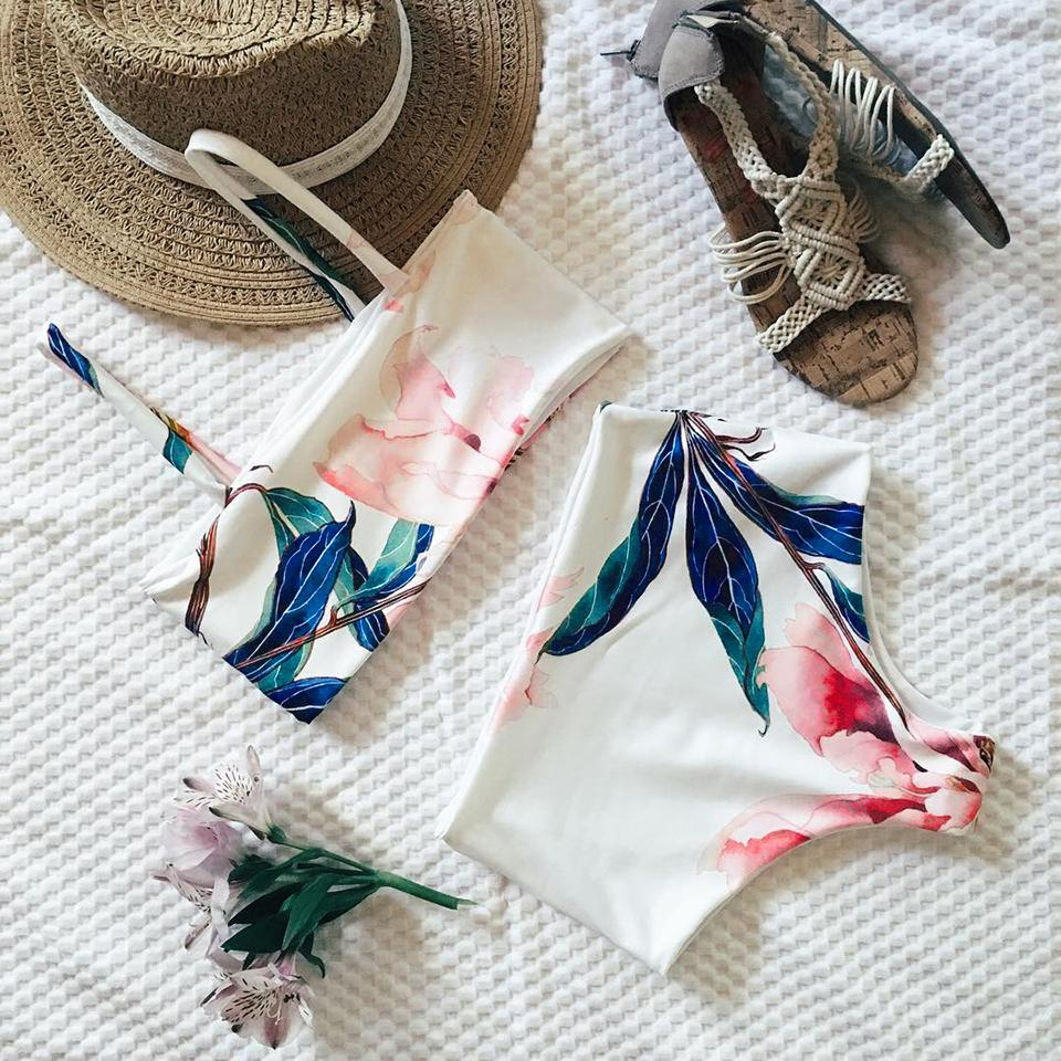 White Floral Leaves Bandeau Tropical Beachwear Bathing Suit Swimsuit Swimwear Women High Waist Bikini-SWIMWEAR-SheSimplyShops
