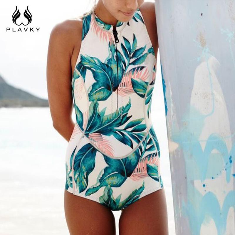 High Neck Tropical Palm Leaf Zipper Swim Bathing Suit Bodysuit Swimwear Women One Piece Swimsuit-SWIMWEAR-SheSimplyShops