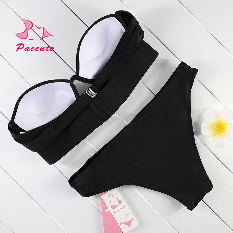 Strapless Bikini Black Push Up Swimwear Female Two Piece Beachwear Lady Bathing Suit Women Padded Swimsuit-Bottoms-SheSimplyShops