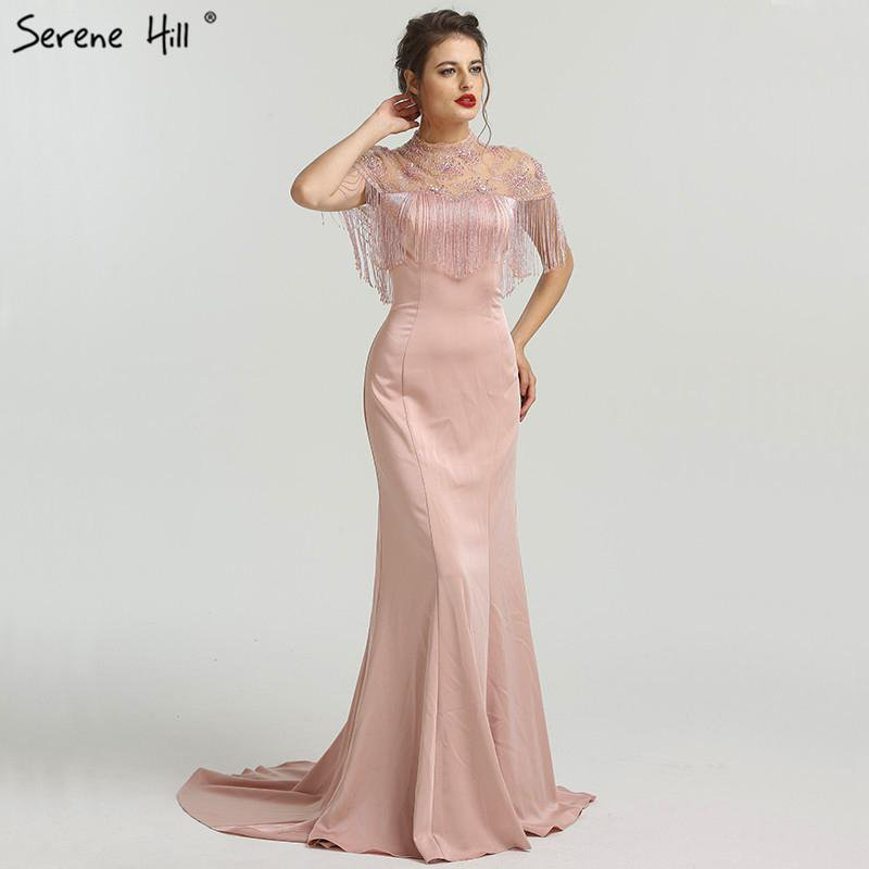 New Beading Tassel Latest Evening Gown Designs Sleeveless Fashion Sexy Mermaid Evening Dress-SheSimplyShops