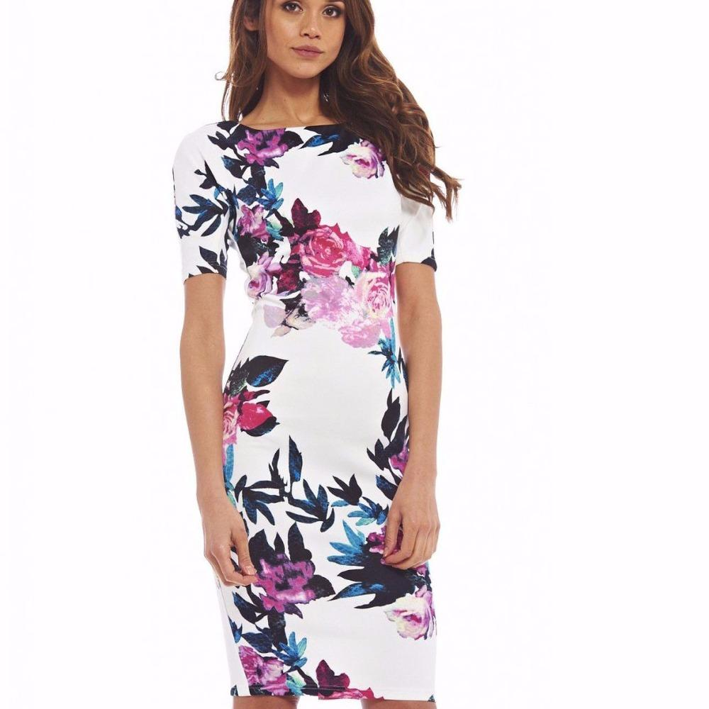 Fashion Women Dress Floral Print O-Neck Work Business Casual Dresses-Dress-SheSimplyShops
