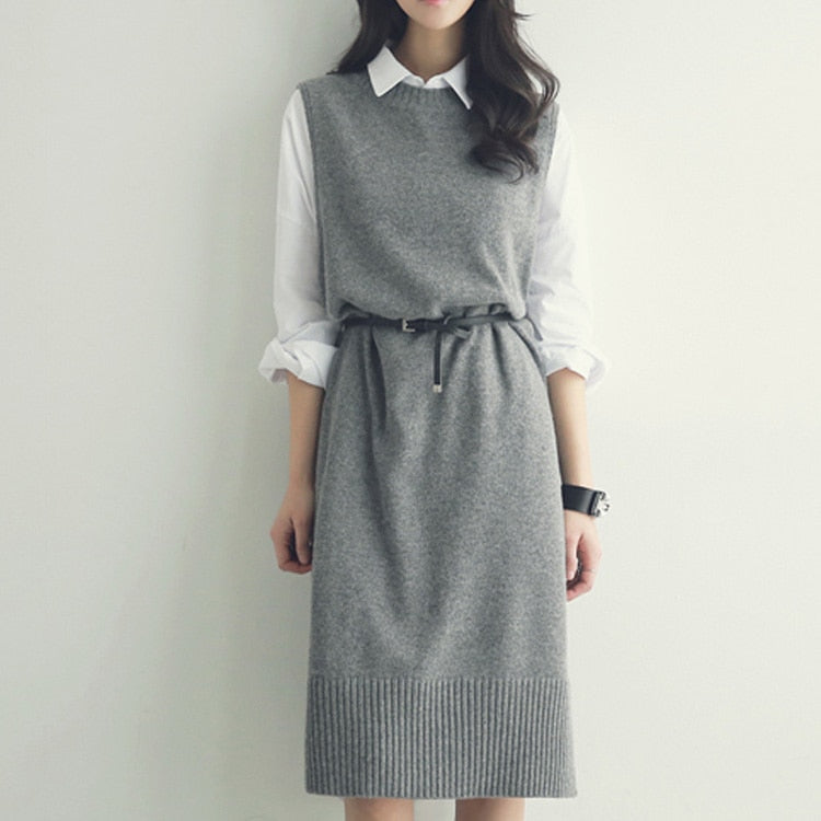 Pullover vest dress Autumn Winter long Knitted Women Sweaters vest Sleeveless Warm Sweater Casual Solid Vestido with belt