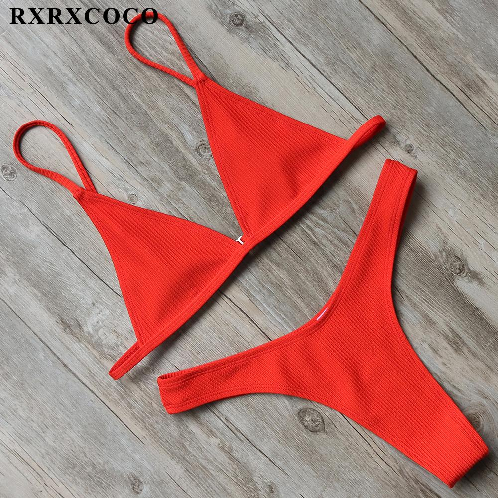 Sexy Solid Swimwear Women Bikini Set Thong Bottom Top Low Waist Beachwear Push Up Bandage Swimsuit-Bottoms-SheSimplyShops