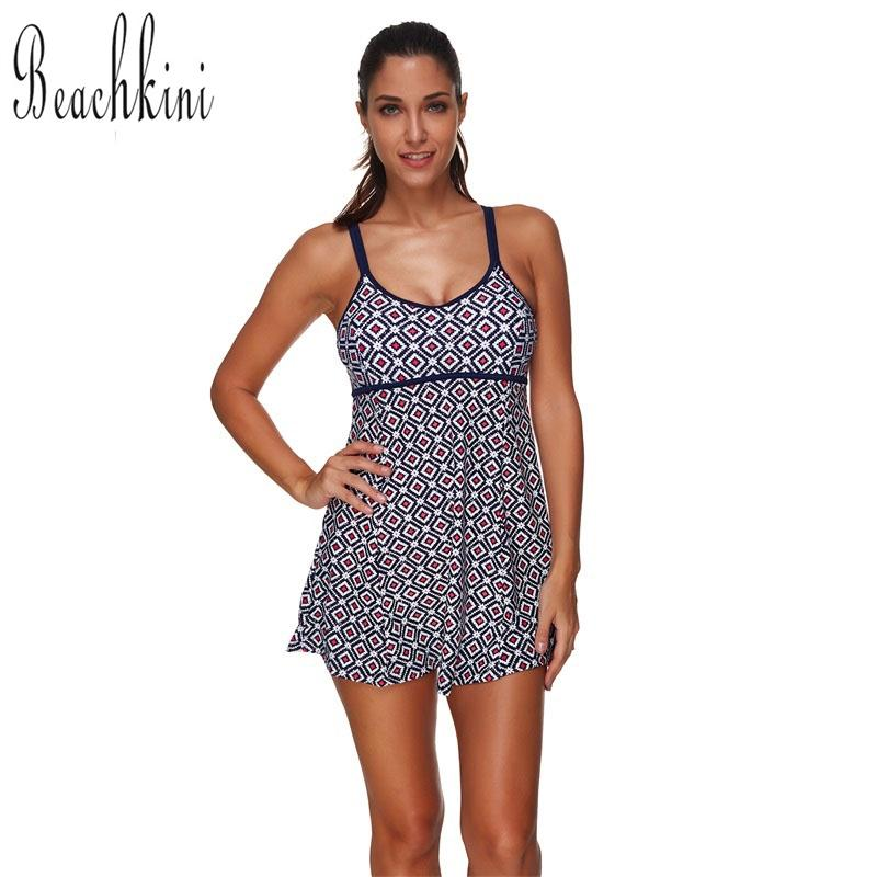 37a0d16319d Printed Swimsuits Swimwear Women Adjustable Straps Bathing Suit Backless  Swim Skirt-SheSimplyShops