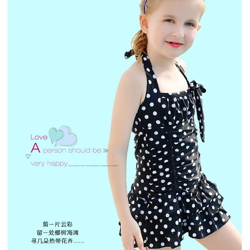 Children Summer Swimwear Black and red Dot Girls Swimsuit Bathing suit Beachwear Child Swim suit One Piece-SWIMWEAR-SheSimplyShops