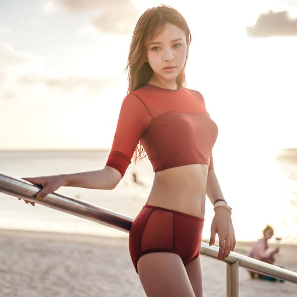 Women Bathing Suit two pieces swimsuit new style long sleeve Rash guard sun protective swimwear mesh beach wear-SWIMWEAR-SheSimplyShops