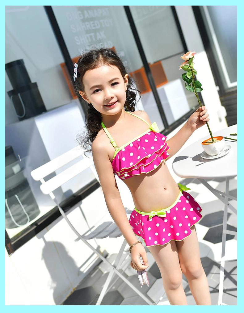 Summer Beachwear Swimsuit Bathing suit Girls solid Dress Swimwear Children Swimsuit kids bikini two Piece-Dress-SheSimplyShops