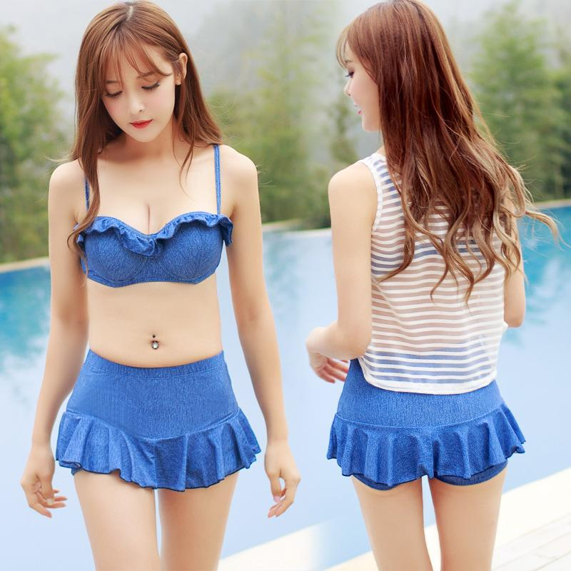 Lady cute bikini set swimwear women design push up skirt with mesh cover bathing suit nice swimsuit-SKIRTS-SheSimplyShops
