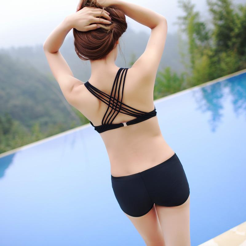Lady female black bikini set cross back style Crochet bikini beach cover high waist bottom bathing suit-Bottoms-SheSimplyShops