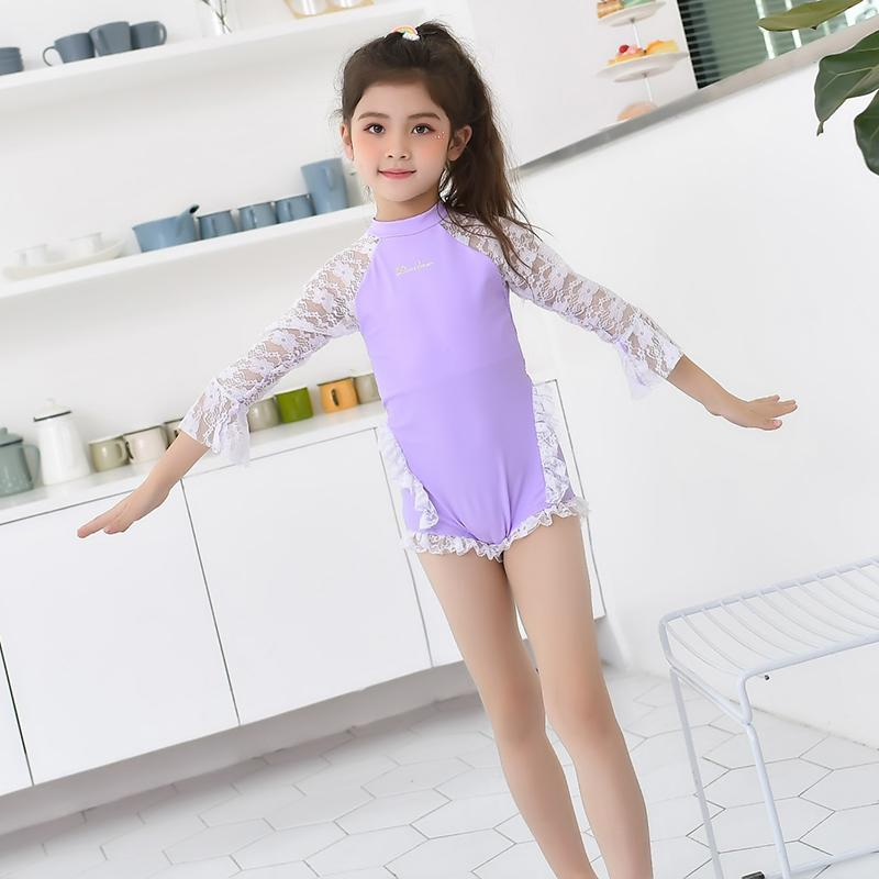 Child girls swimming suits with sleeves swim princess swimsuit Summer Bathing Suit Beach swimwear for teenager-SWIMWEAR-SheSimplyShops
