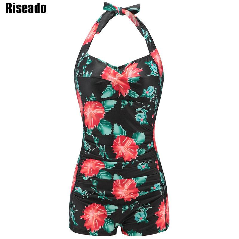 One Piece Swimsuit Vintage Floral Printed Swimwear Women Halter Padded Swim Wear Summer Beach Bathing Suits-SWIMWEAR-SheSimplyShops