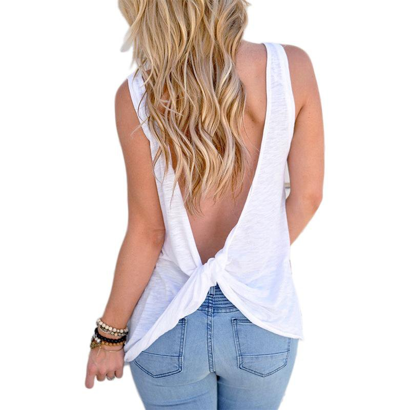 New Backless Summer T Shirt Women Sexy Sleeveless Open Back T-Shirt Bow Tops Tee Shirt Femme-SHIRTS-SheSimplyShops