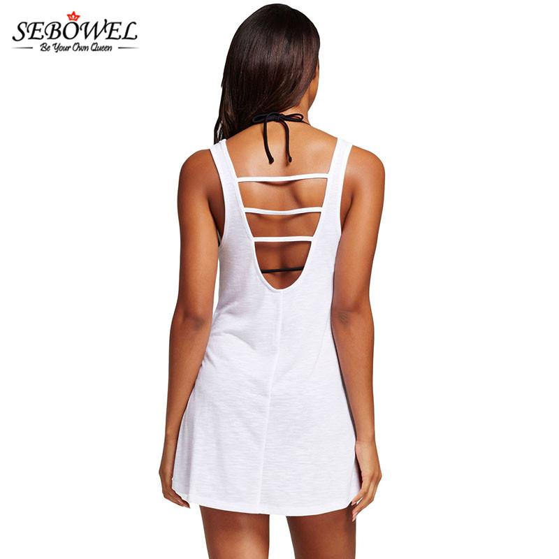 13a6110e9d Summer Beach Short Dress Women Black Graphic Tank Swim Cover Up Dress Sexy  Beachwear Womens Beach
