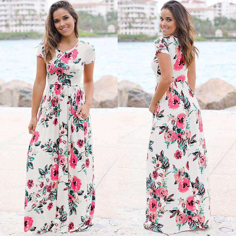 Summer Floral Print Long Casual Women Dress Beach Ladies Tunic Fashion Sexy Women Maxi Dresses-Dress-SheSimplyShops