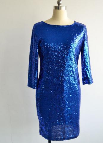 O Neck Long Sleeve Sequins Backless Slim Pencil Party Dresses-Dress-SheSimplyShops