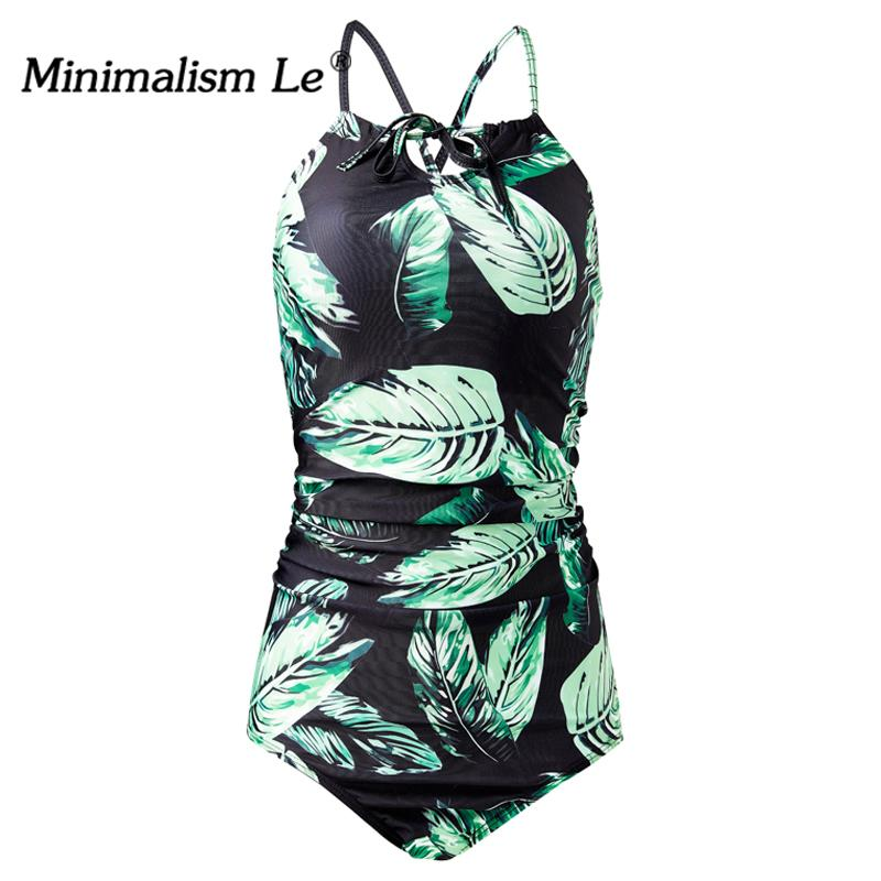 One Piece Swimsuit Print Women Swimwear Bandage Bikinis Female Leaf Bathing Suits Bikini-SheSimplyShops