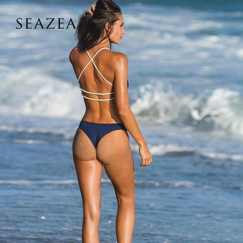 Women Bikini Swimsuit Swimwear Bathing Suit Low Waist Bandage Backless Beach Wear Bikini-SheSimplyShops