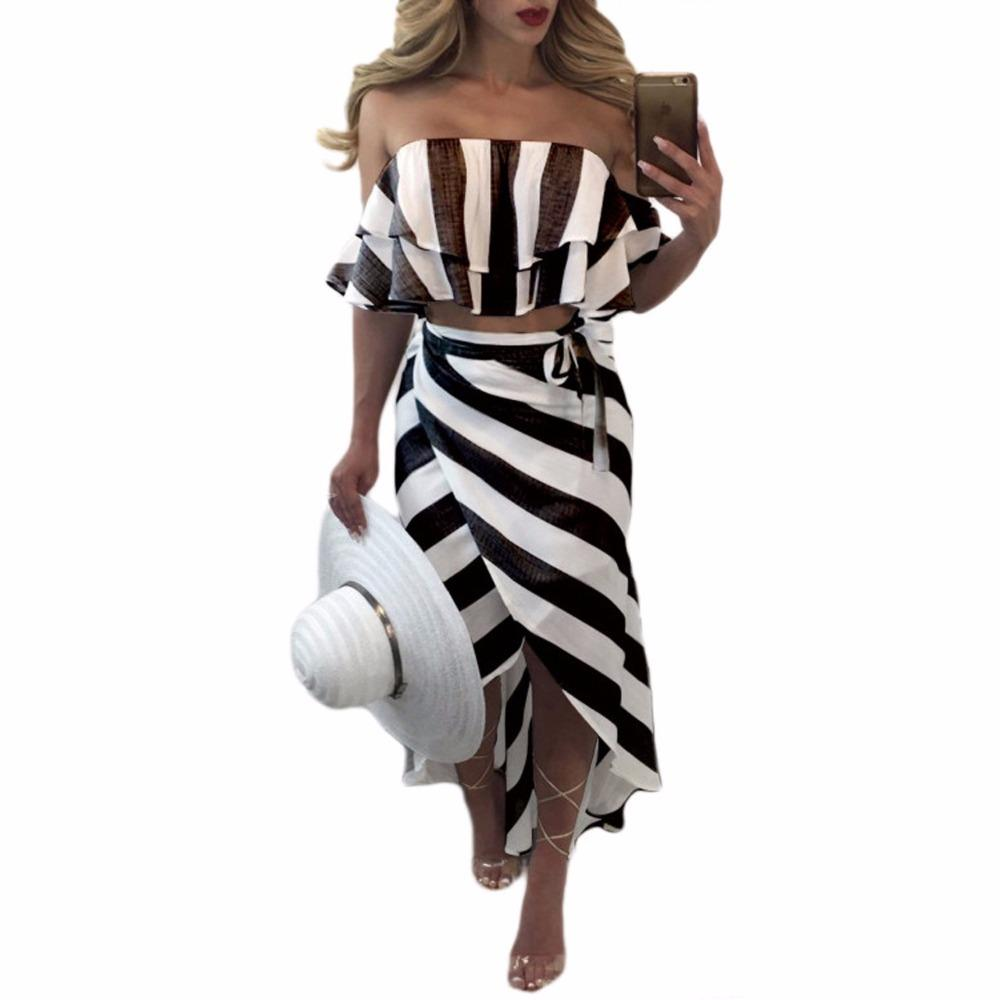 Cascading Ruffle Striped off Shoulder Sleeveless Beach Wear Two Piece Summer Dress Casual Bodycon Beach Dresses-Dress-SheSimplyShops