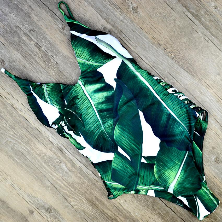One Piece Swimsuit Swimwear Women Green Leaf Print Bandage Thong Hollow Out Bathing Suit-SWIMWEAR-SheSimplyShops