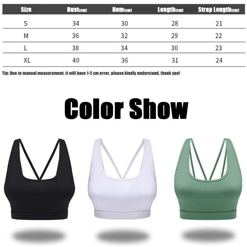 Back Sports Bra Solid Yoga Tank Top for Women Fitness Push up Gym Shockproof Shirt Running Athletic Fast Dry Vest