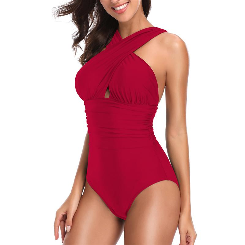 Cross High Neck Swimwear Women Swimsuits Summer Push Up One Piece Swimsuit Female Beach Bathing Suit-SWIMWEAR-SheSimplyShops