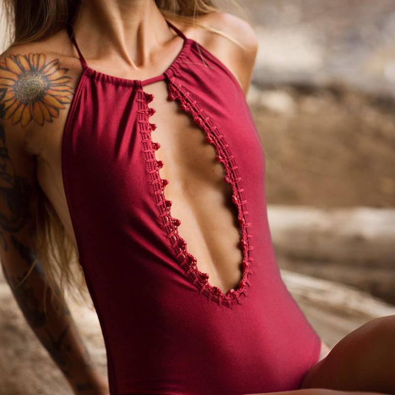 Deep Plunging Handmade Crochet Swimwear With Bead Bathing Suit Backless Women One Piece Swimsuit-SWIMWEAR-SheSimplyShops