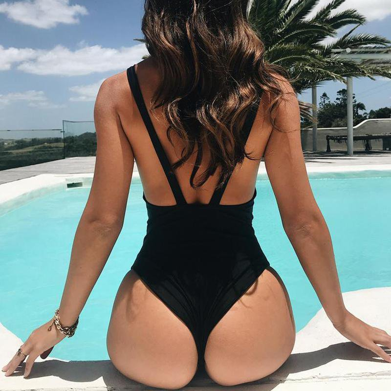 Deep Plunging V Neck High Cut Swim Bathing Suit Bodysuit Backless Thong Swimwear Women One Piece Swimsuit-SWIMWEAR-SheSimplyShops