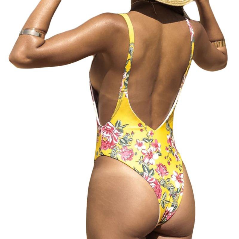 Deep V Plunging Yellow Floral Swim Bathing Suit Backless High Cut Thong Swimwear Women One Piece Swimsuit-SWIMWEAR-SheSimplyShops