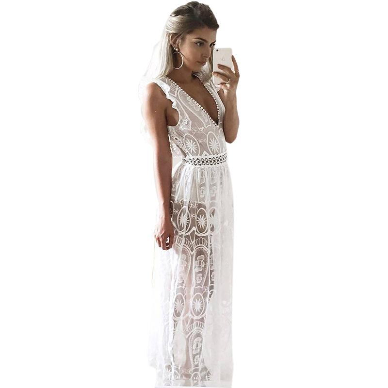 Sexy Hollow Out White Lace Dress Women Spring High Waist Sleeveless Backless Dress Christmas Long Dress-Dress-SheSimplyShops