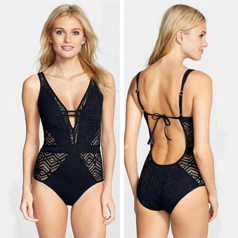 Lace One Piece Swimsuit Swimwear Women Bodysuit Crochet Swimwear Bathing Suits Beach Wear-ROMPERS & JUMPSUITS-SheSimplyShops