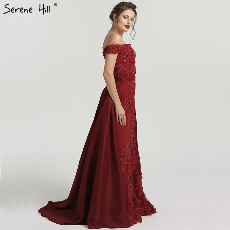 Sexy Off Shoulder Wine Red Evening Dresses Fashion Beading Sequined A-Line Sleeveless Evening Gown-SheSimplyShops