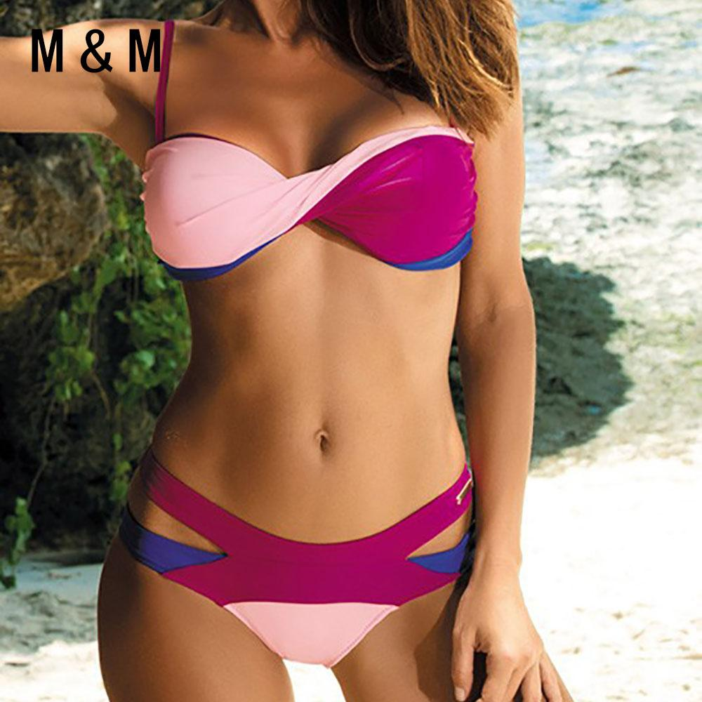 Women Bikini Bandage Swimwear Female Patchwork Beach Mid Waist Swim Bath Suit-SWIMWEAR-SheSimplyShops