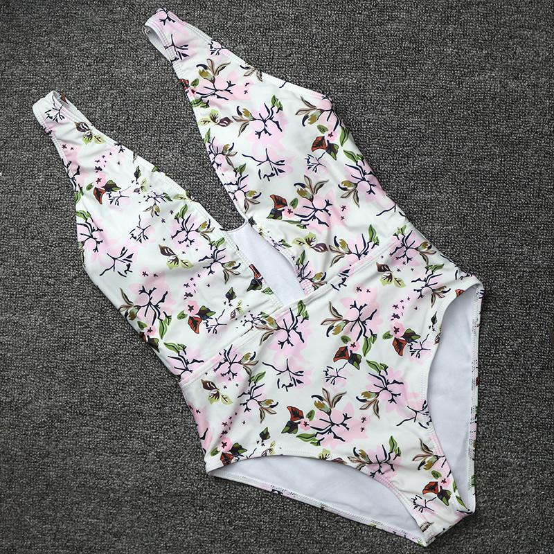 White Floral Deep V Plunging Swim Bathing Suit Backless High Waist Swimwear Women One Piece Swimsuit-SWIMWEAR-SheSimplyShops