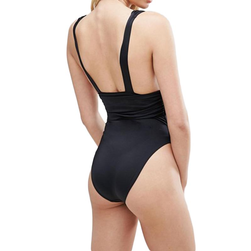 Sexy Solid Deep V Plunge Gathered High Waist Tankini Bathing Suit Backless High Cut Swimwear Women One Piece Swimsuit-Tanks-SheSimplyShops